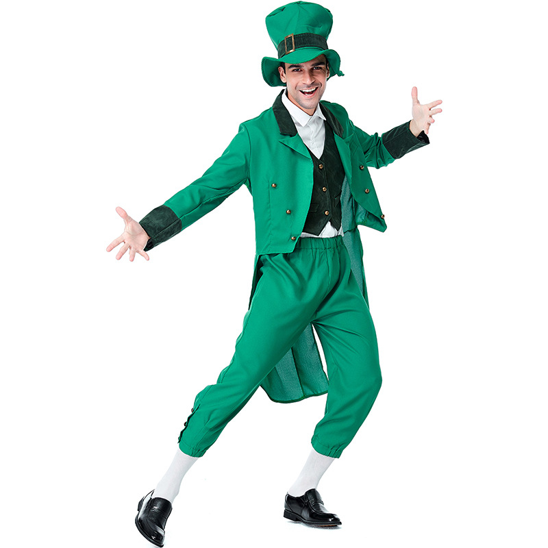 Adult Kids Ireland Spirit Shamrocks Costumes Cosplay Full Set For Boys Men Halloween Ball St.Patrick's Day Costume Fancy Dress