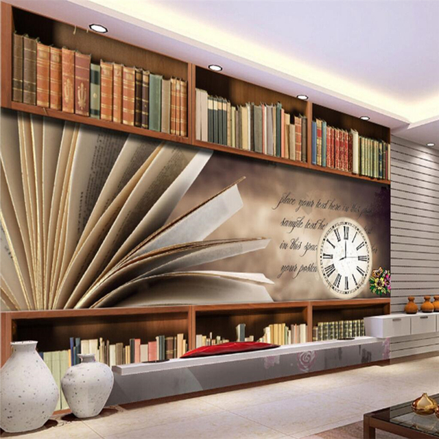 Beibehang Custom Wall Paper Retro Bookcase Shelves Wallpaper Living Room Sofa Bedroom Tv