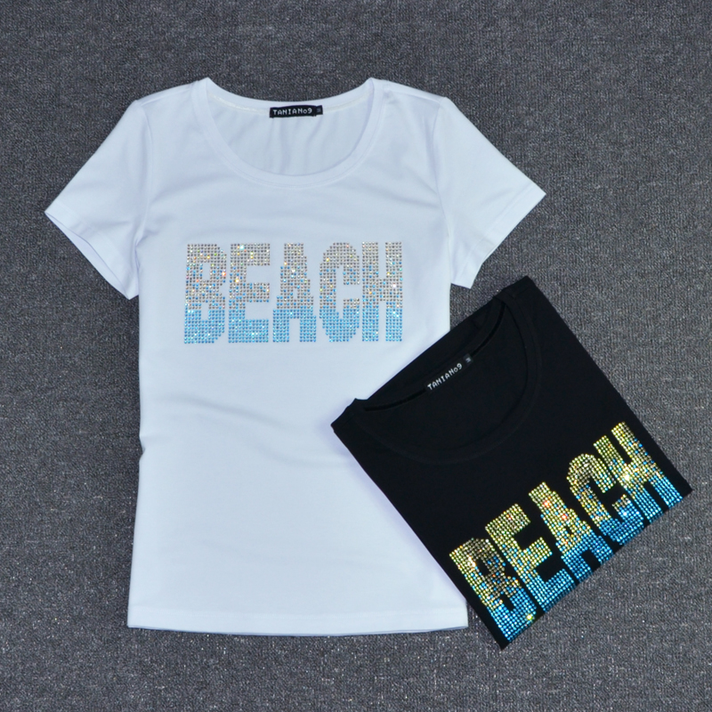 Black white color t shirt women beach letter rhinestones for Good quality t shirt printing