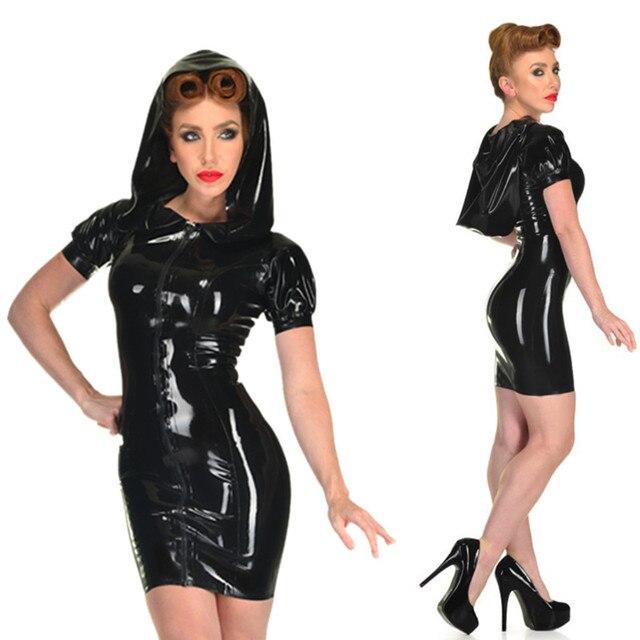 S XXXL Sexy Frauen Schwarz Reißverschluss Kunstleder PVC Kleid Mit ...
