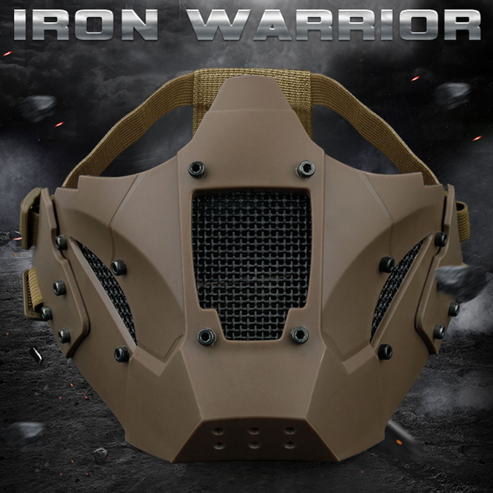 WosporT Tactical Airsoft Paintball Accessories Iron Warrior Mask Half Face Mask Use With Fast Helmet Military For CS Shooting