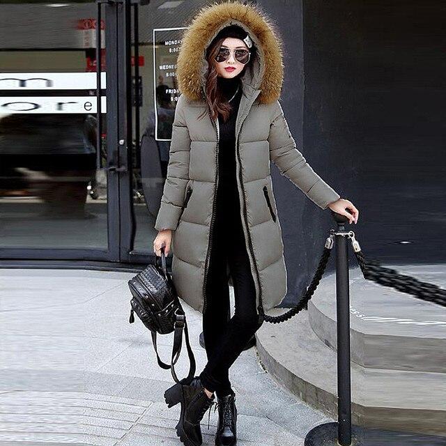 New 2016 Winter Warm Women Thickening Down Parkas Coat Fashion Fur Hooded Zipper Long Wadded Jacket Female Casual Solid Outwear