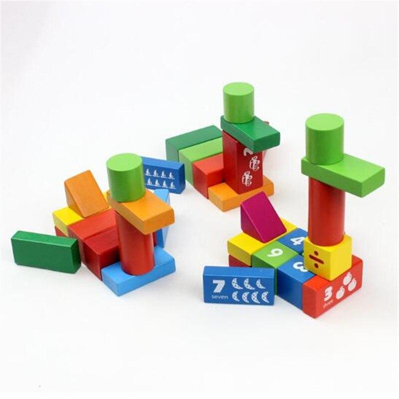 WYNLZQ 100 Pcs/lot jouets en bois numéros bloc jeu éducation cadeaux de noël jouet pour bébé enfants maternelle blocs couleurs - 6