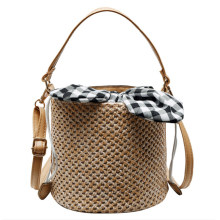 Summer Beach Straw Bags For Women Drawstring Mini Bucket Crossbody Bohemian Shoulder Messenger Fashion Handbags