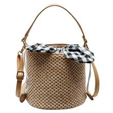 Summer Beach Straw Bags For Women Drawstring Mini Bucket Crossbody Bags Bohemian Shoulder Messenger Bags Fashion Handbags
