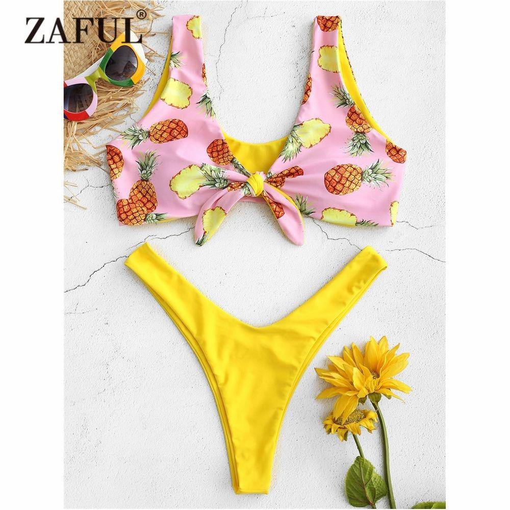 bafb5d7c1f6 ZAFUL 2018 Pineapple Knot Bikini Set Swimwear Women High Cut Swimsuit Sexy  Thong Bikini Plunge Brazilian