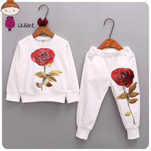 Mom And Daughter Dress 2019 New Tracksuit Spring Autumn Family Matching Clothes Baby Girl Embroidery Sportswear Clothing Sets(China)