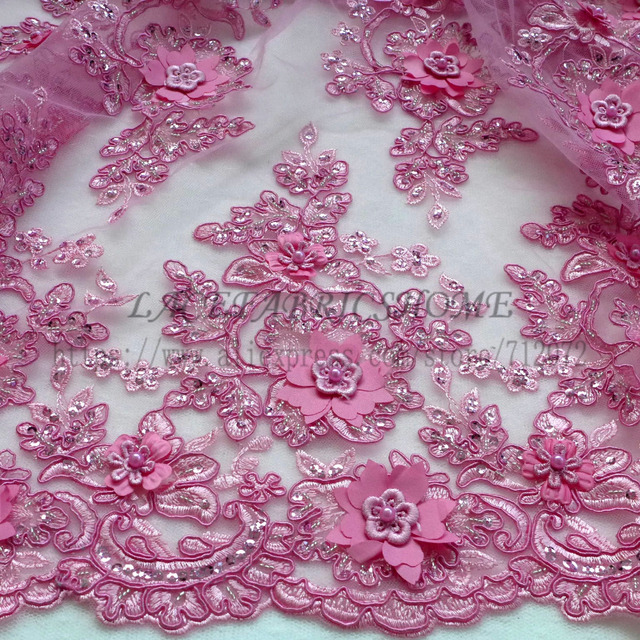 1 yard New Rose pink/Fucsia/Beige/ bright Yellow handmade 3D flowers/beaded wedding/evening dress lace fabric 49'' width 1 yard