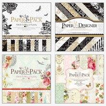 24Pcs/Pack Colorful Flower Pattern Novelty Papercraft Art Scrapbook Paper Handmade Craft Paper Background Pad 30.5*30.5cm
