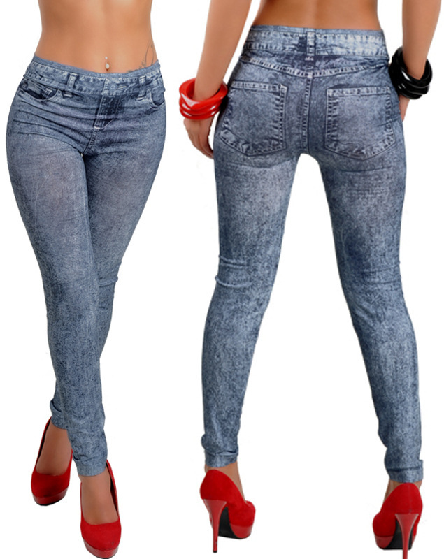 55c52cf9ae US $13.85 |New Autumn Winter Women Tattoo Jean Look Leggings Sexy Casual  Punk Denim Trousers Slim Jeans Skinny Pants-in Jeans from Women's Clothing  on ...