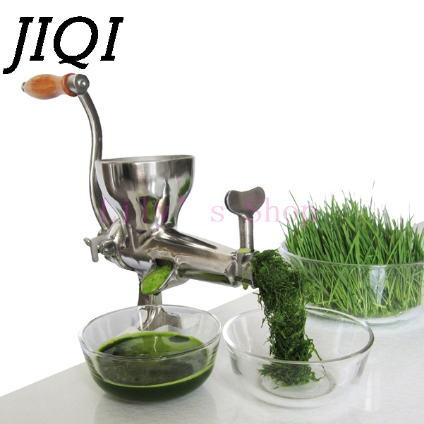 JIQI Hand Stainless Steel wheatgrass juicer manual Auger Slow squeezer Fruit Wheat Grass Vegetable orange juice press extractor stainless steel hand wheatgrass juicer machine manual auger slow juice ideal for fruit vegetables orange juice extractor