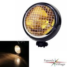 Papanda Motorbike Black Housing Amber Lens Retro 12V Headlight Cafe Racer for Harley Chopper Bobber Custom Motorcycle