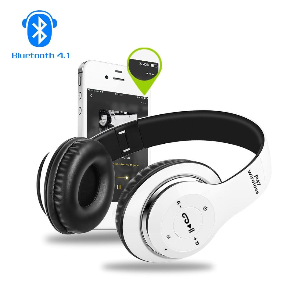 bilder für P47 Stirnband Faltbare Stereo Bluetooth Kopfhörer Sport Headset Mit MIKROFON FM Radio Kopfhörer Super Bass MP3 Player
