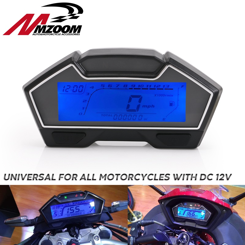 Universal LCD Motorcycle Racing Bike Speedometer Odometer RPM Speed Fuel Gauge 199 Kph Mph DIY Speedometer image