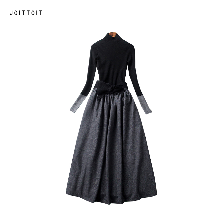 Women Party Dress Office Ladies Star Stand Collar Black Top Patchwork Grey Knitted A Line Dress Long Sleeve Empire Slim Dress schnadig тумба empire ii night stand