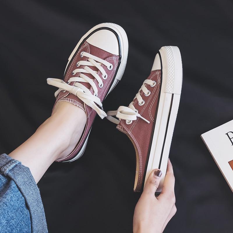 BOINN Womens Low Top Lace Up Skateboard Canvas Shoe Non-Slip Classic Outdoor Walking Sneakers