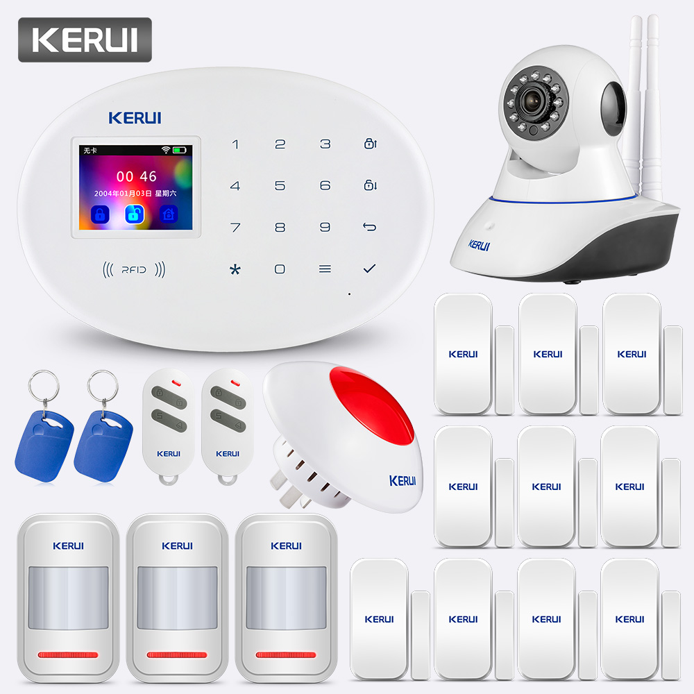 Alarm Alarmanlagen Sicherheits Hause KERUI W20 Wireless Smart keybord RFID SIM GSM Einbrecher Sensor Home Security Alarm System APP Kontrolle