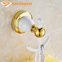 Free Shipping Wholesale And Retail White Painting Wall Mounted Solid Brass Bathroom Hooks Robe Dual Hangers