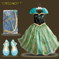 Fashion Baby Elsa Dress Accessories Set Children Anna Elsa Costume For Halloween Christmas Fancy Dresses For