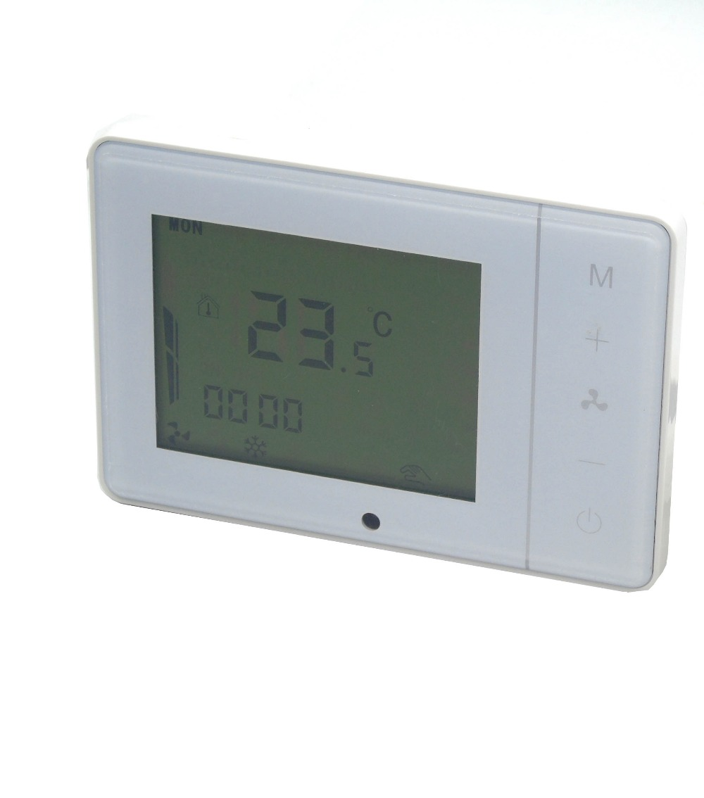 4 pipes Touch Screen programmable thermostat temperaturewith Surface-mounting