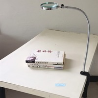 Lamp Magnifier Flexible Neck Magnifying Desk Table Clamp Plastic Folders Metal Horse 5X 100mm Lens Loupe Repaire Magnifier