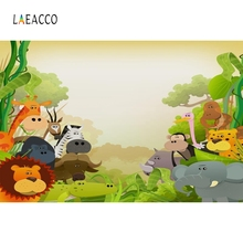 Laeacco Safari Animals Jungle Forest Tree Baby Party Photography Backgrounds Customized Photographic Backdrops for Photo Studio