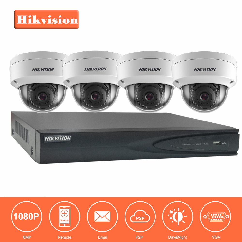 Hikvision 4CH 1080P 48V POE NVR Kit CCTV System 2MP Outdoor IP66 Metal IP Camera waterproof P2P Home Security Surveillance Kit