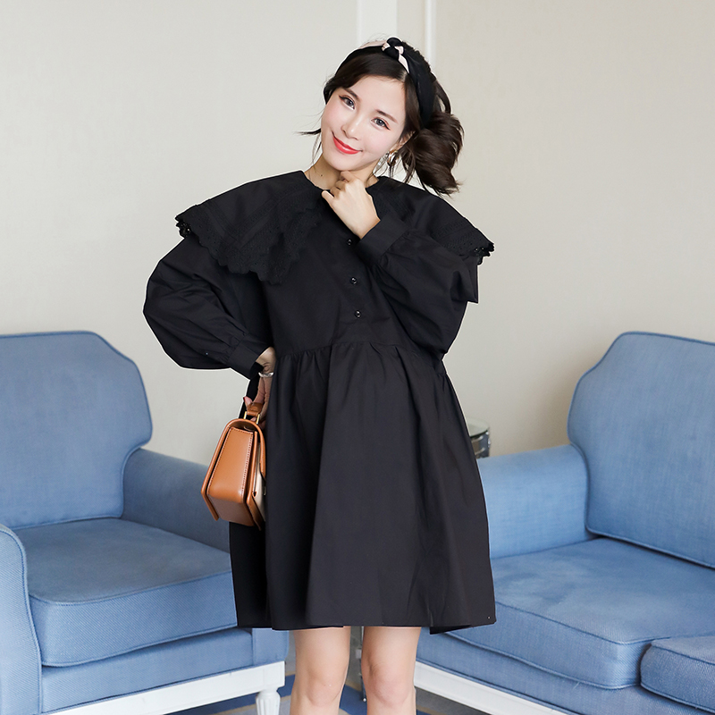 Maternity dress skirt fashion models 2018 autumn new loose long-sleeved dress pregnancy high waist doll shirt skirt [eam] high quality 2018 autumn spliced organza loose lace up long section double layer collar plaid skirt fashion new set la406