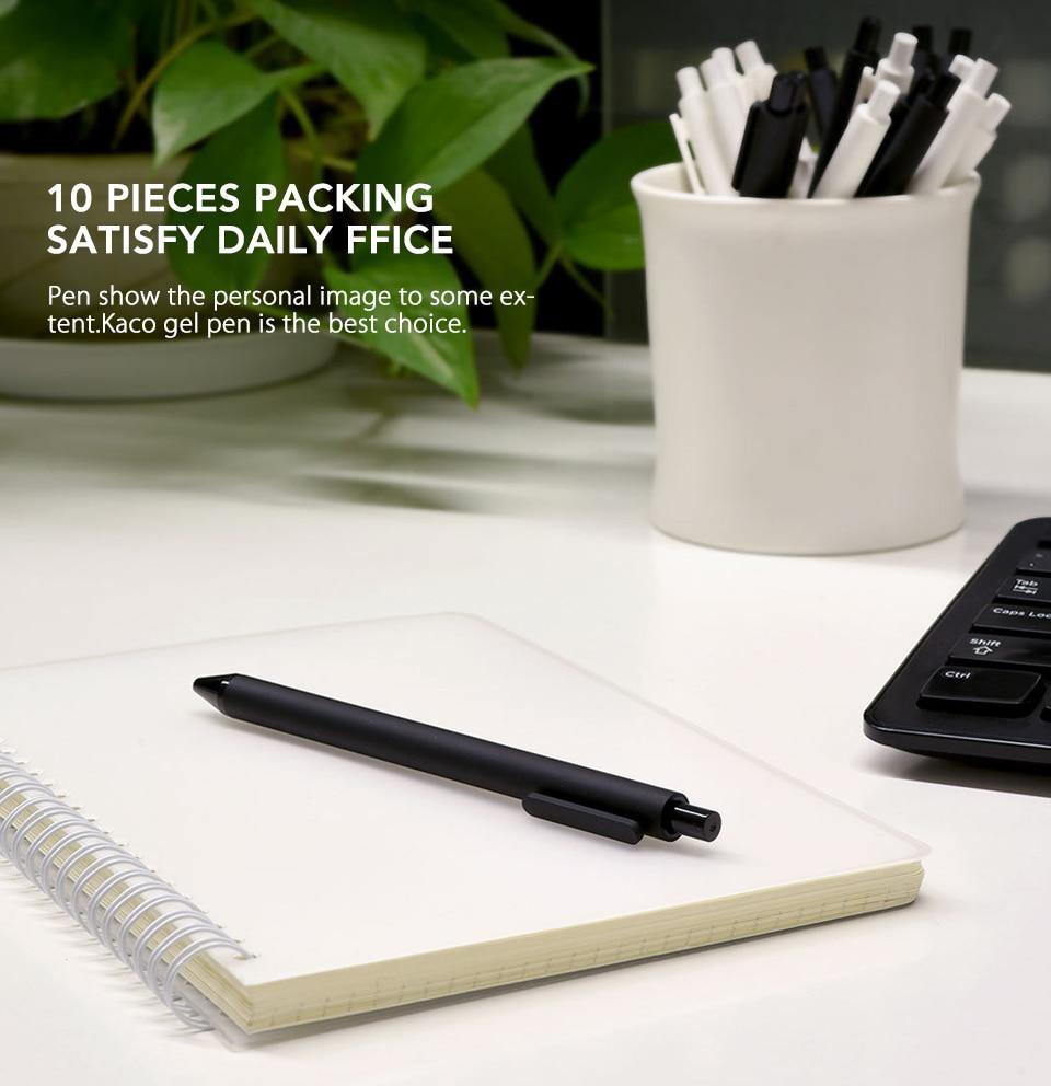10PcsLot Xiaomi KACO 0.5mm Xiomi Mi Signing P E N Gal Ink Smooth Writing Durable Signing Black Refill (6)