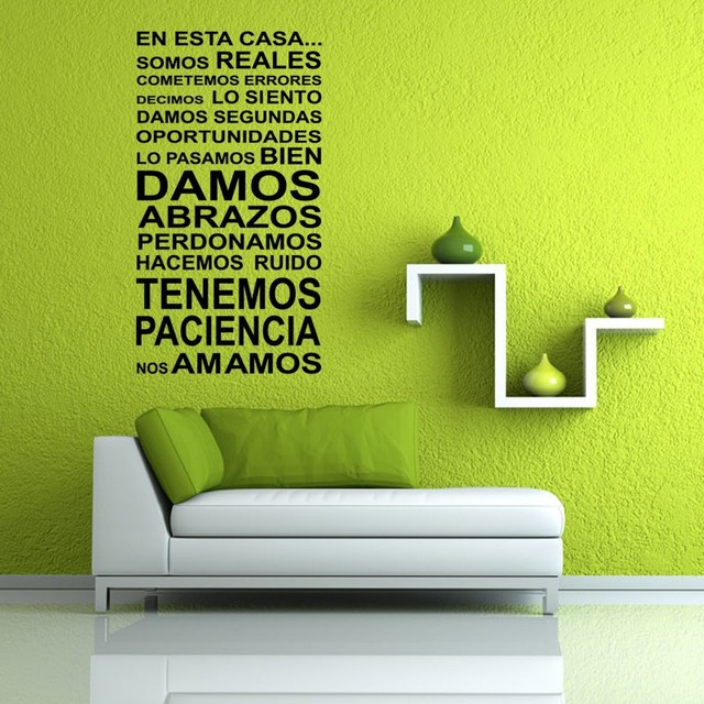 Large Stencil Black Spanish Letters Quotes En Esta Casa Vinilo Decal Glue  Wall Stickers Free Ship