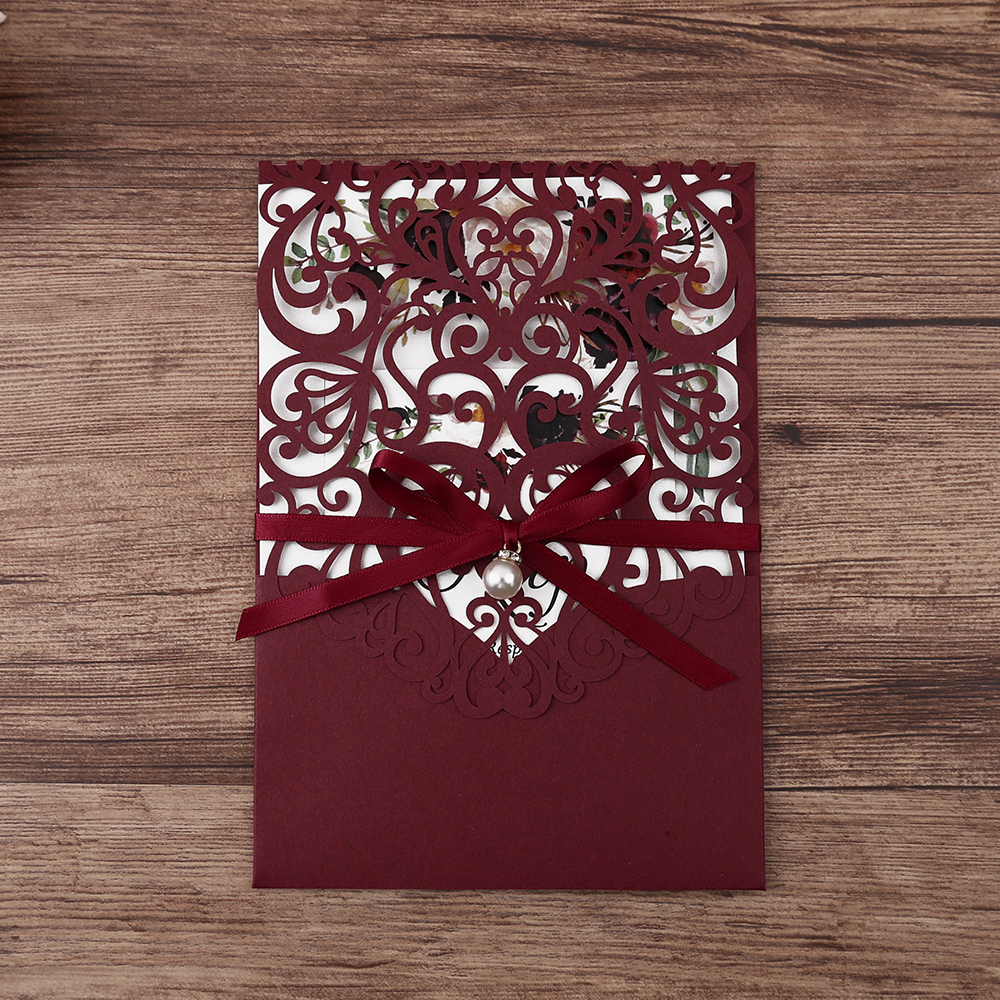 50pcs 부르고뉴 새로운 도착 가로 레이저 컷 결혼식 초대장 진주 리본, rsvp 카드, 사용자 정의-에서카드 & 초대장부터 홈 & 가든 의  그룹 2