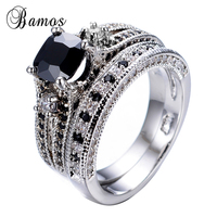 Bamos 2017 Gorgeous Male Female Black Ring Set Fashion 925 Silver Filled Jewelry Promise Engagement Rings For Men And Women