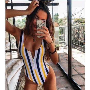 New Sexy Zipper One Piece Swimsuit Women Swimwear Push Up Monokini Bodysuit Swimsuit Print Bathing Suit Summer Beachwear XL 12