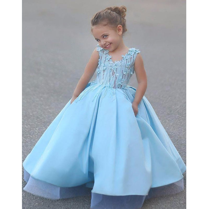Flower Girl Dresses For Garden Weddings: 2017 Vintage Light Blue A Line Flower Girl Dress For