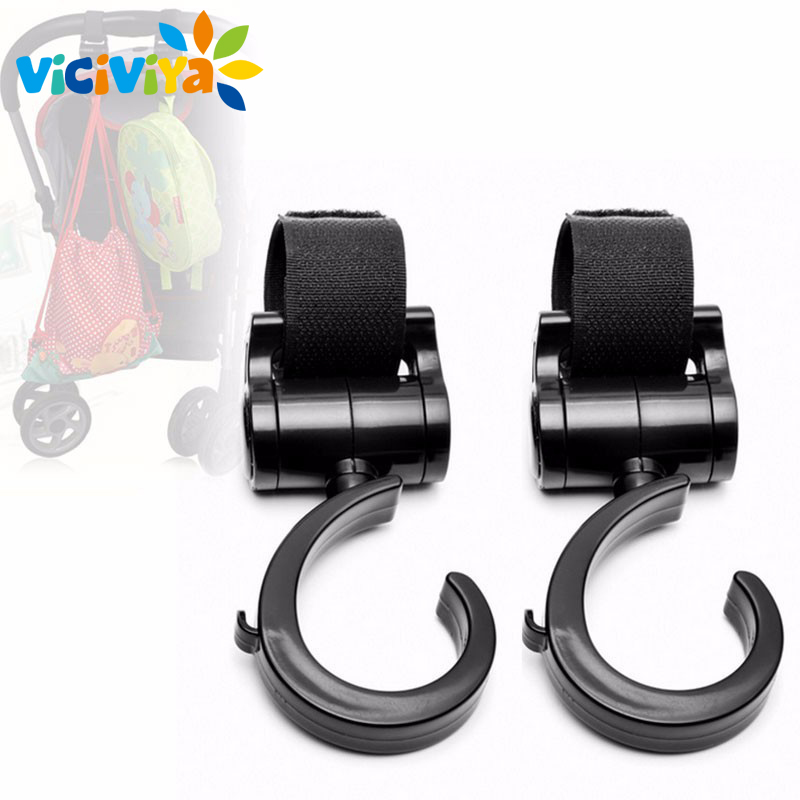 2 PCS Multi Purpose Baby Stroller Hook Pushchair 360 Swivel Hanger Hooks Carriage Storage Bag Baby Carriage Stroller Accessories 2pcs baby hanger baby bag stroller hooks pram rotate 360 degree cart hook accessories