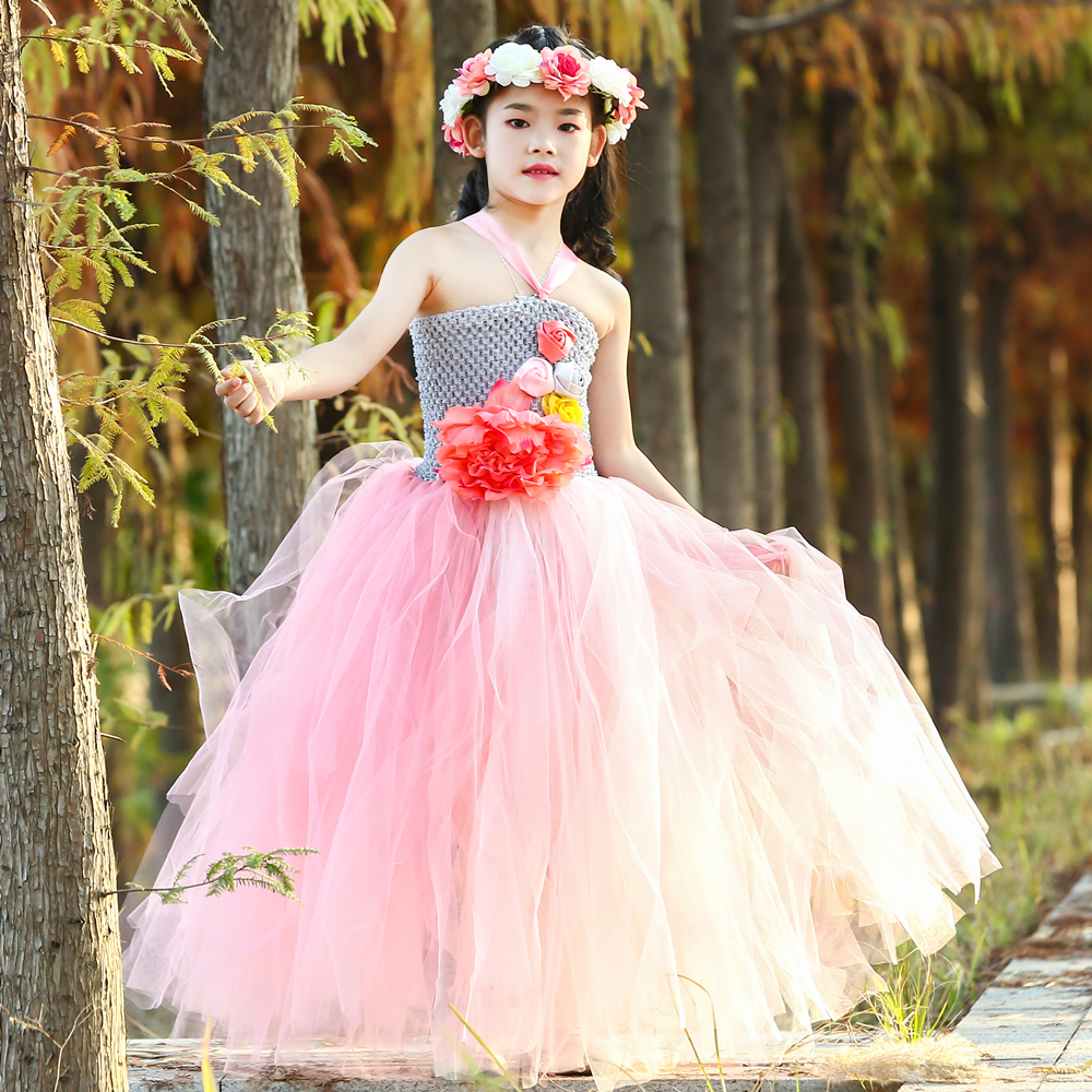 5c0ad65b38d Gray Pink Flower Fairy Tutu Dress Tulle Princess Flower Girl Dress Kids  Halloween Fairy Costume Girl Birthday Party Dress 1-14Y