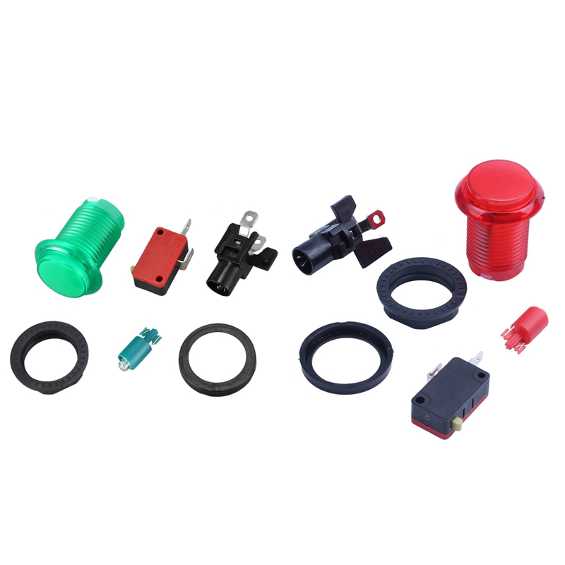Buy 2 PCS Round Lit Illuminated Arcade Video Game Push Button Switch LED Light 5V/12V Color:Green & Red for only 3.05 USD