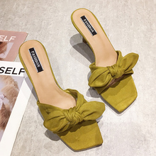 Fashion Bow-knot Sandals Women High Heels Slippers Ladies Summer 2019 New Soft Slip On Yellow