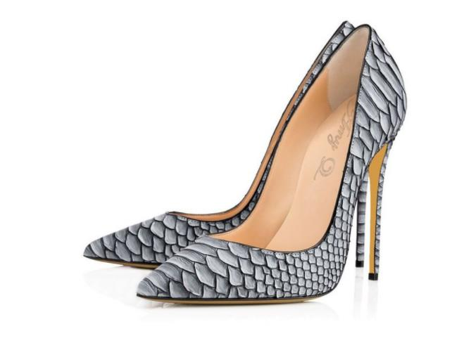 European and American women's sexy white snake pattern wedding shoes gray pointed super high heels foreign trade shoes.