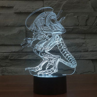 Free Shipping 7 Color Changing Arcylic 3D Alien Monster Baby Sleep LED Night Light Of Lamparas