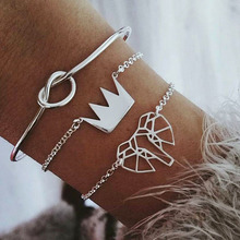 3 Pcs/ Set Fashion Hollow Elephant Crown Knotted Silver Opening Multilayer Cuff Bracelet Set Female Charm Clothing Accessories
