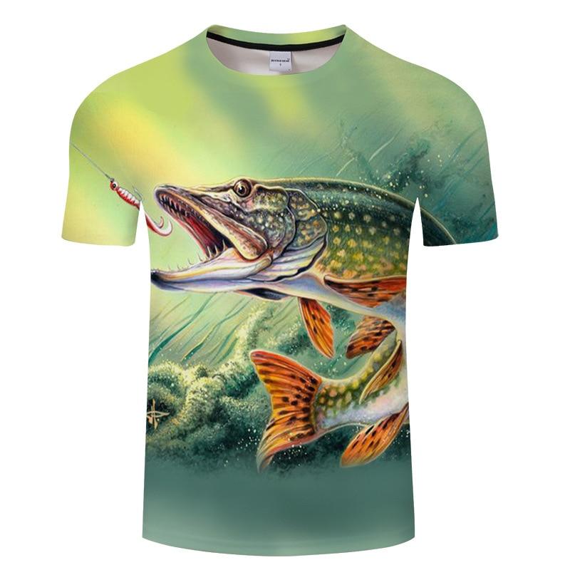 2018 new summer top T shirt men, 3D fish-patterned short-sleeved printed T-shirt  men s-6xl