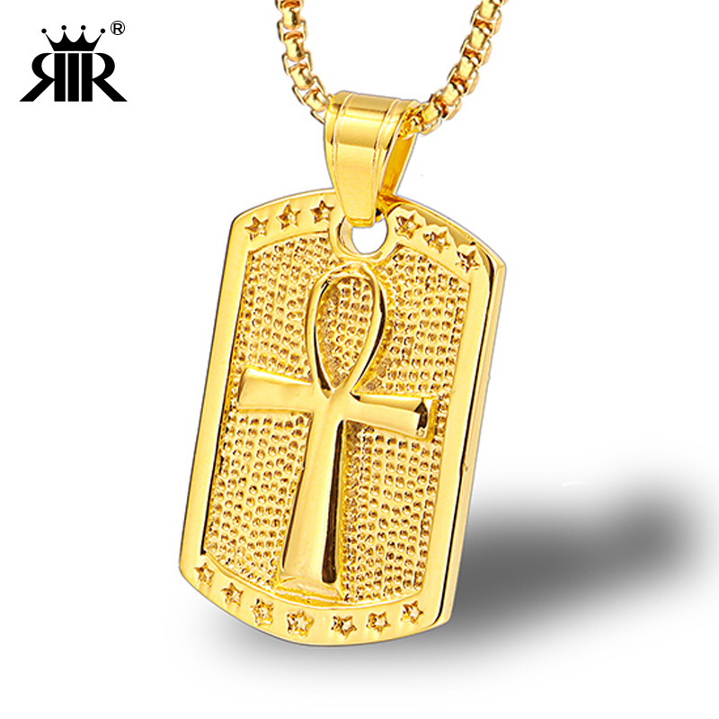 RIR New Arrived Egypt Ankh Gold Cross Dog Tag Chain Pendant Fashion Hip Hop Style Stainless Steel Necklaces Mens Jewelry