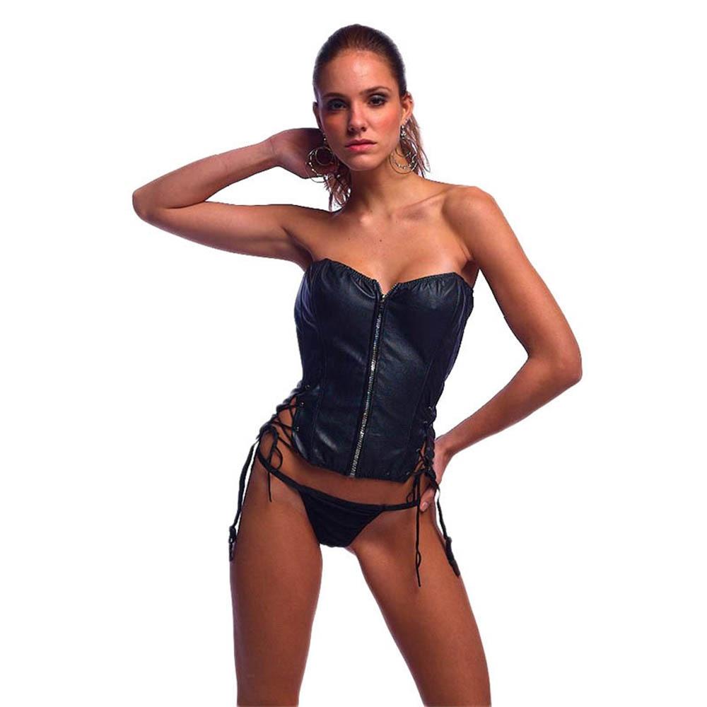 Ženy sexy ohromující černý korzet korzet korzet vysoce kvalitní vinylové spodní prádlo shaper s tanga gotický Steampunk Bustier W7906