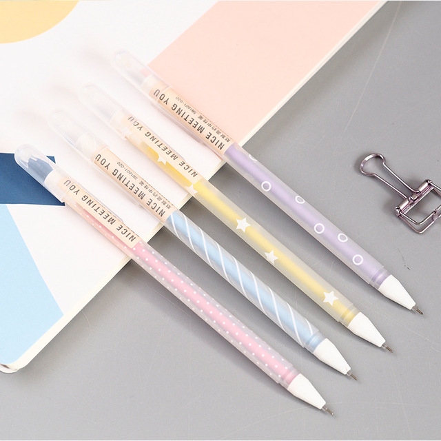 G31 3X простые точки полосатый конфеты гелевая ручка Ручка-роллер Школа канцелярских товаров дать студент канцелярские черные чернила 0.5 мм
