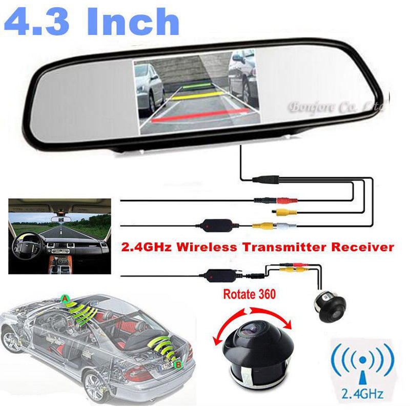 Koorinwoo Wireless 4.3 Color Car Rearview Mirror Monitor Display for DVD 360 Wide degree CCD Car Rear View Camera Parking System