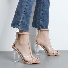 Женские прозрачные сандалии на высоком каблуке летние повседневная