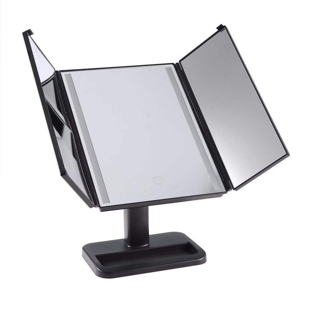 LED Light Touch Screen Makeup Mirrors 3-folding Mirror 1X/2X/3X Desktop Magnifying Mirror For Cosmetic Make Up Gifts MR-L3013 cosmetic make up illuminated desktop makeup stand mirror with 21 led light