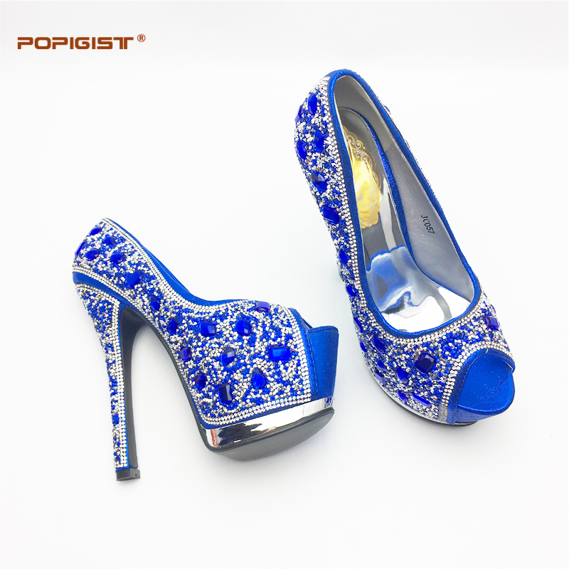 Royal Blue Italian Woman Shoes Shining Diamond Wedding Shoes Matching with Dinner  bags Beautiful New Design Sexy Shoe and bag-in Women s Pumps from Shoes on  ... 6a261c62af6e