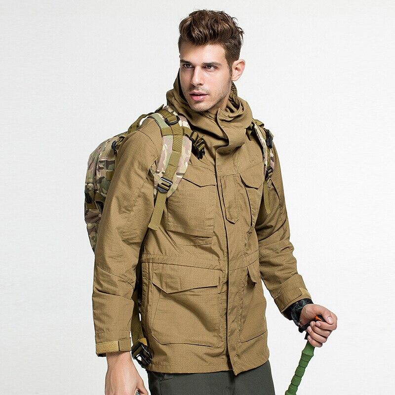 Candomom Jassen Mannen Winddicht Waterdichte Jassen Thermische Vest Kleding Outdoor M65 Tactische Windjack Exquise (On) Vakmanschap